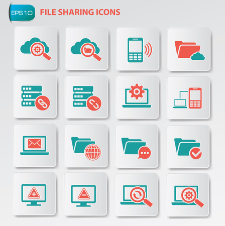 file sharing: File sharing icon set on clean buttons clean vector