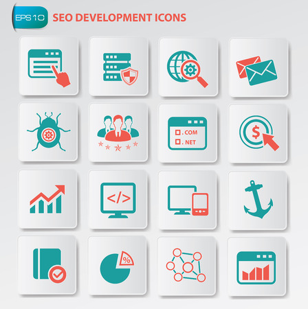 consultancy: Seo development icon set on clean buttons