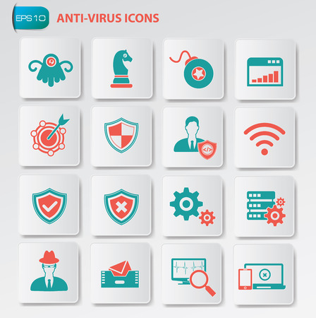 infected: Anti virus icon set on clean buttons