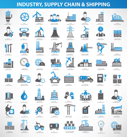 Industryconstruction and engineer icon setblue versionclean vector Vectores
