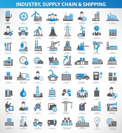 Industryconstruction i inżynier wektor ikona setblue versionclean Ilustracje wektorowe