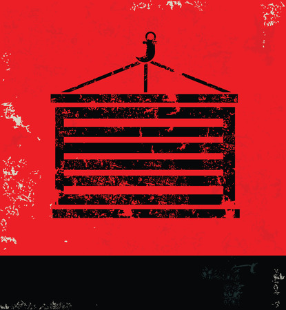 dockyard: Container design on red backgroundgrunge vector