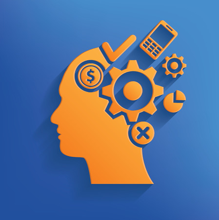 concentration gear: Brain storm design on blue backgroundclean vector