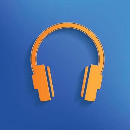Earphone design on blue backgroundclean vector Vector
