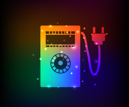 power meter: Power meter design on rainbow concept backgroundclean vector