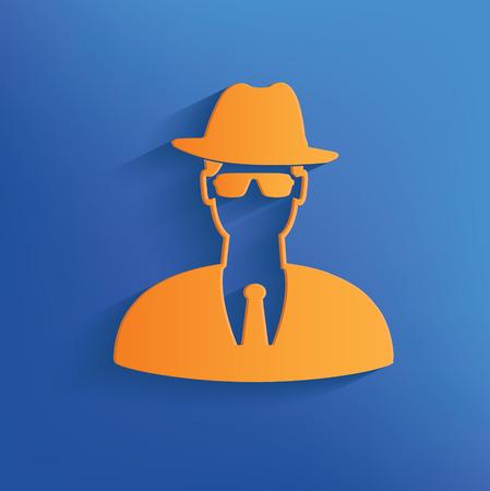 mal: Spy design on blue background clean