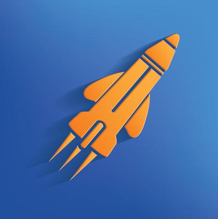Rocket design on blue background clean