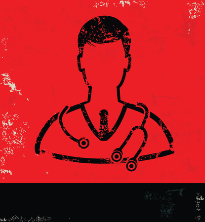 Doctor design on grunge background red version Vector