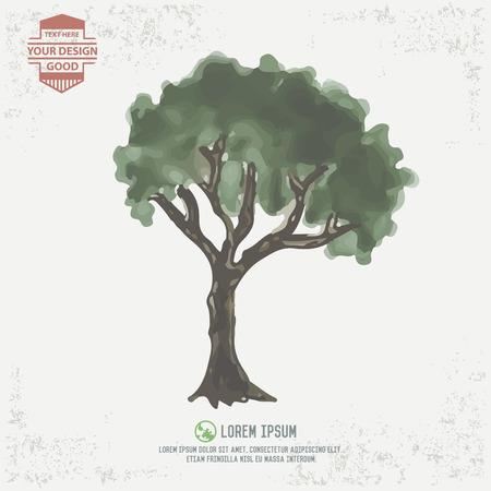 deign: Tree design water color concept Illustration