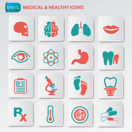 clean lungs: Medical and healthy icon set on buttonsclean vector