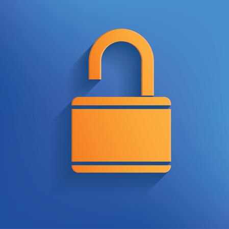 Unlock design on blue backgroundclean vector