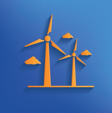 windfarm: Turbina eolica disegno su blu backgroundclean vettore Vettoriali