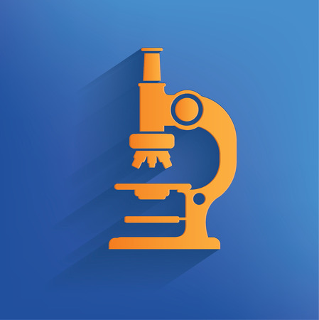 medicine logo: Microscope design on blue backgroundclean vector