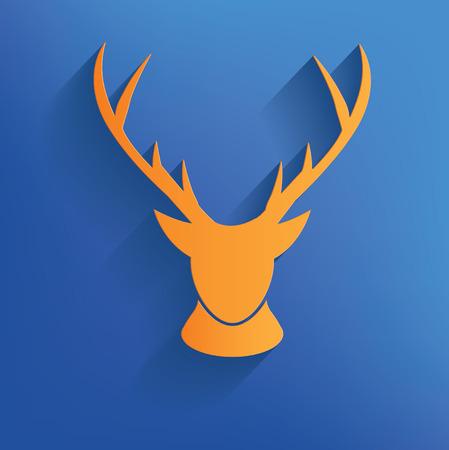 Deer design on blue backgroundclean vector Vector