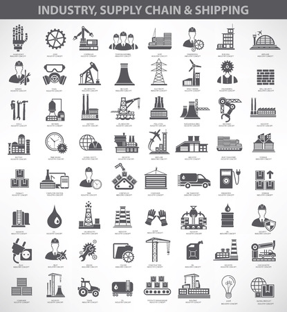 Przemysł, budownictwo i inżynier zestaw ikon, czarna wersja Ilustracje wektorowe