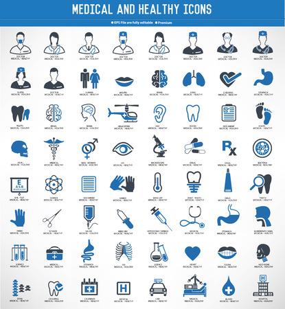 MedicalHealthy icon setblue versionclean vector Illustration