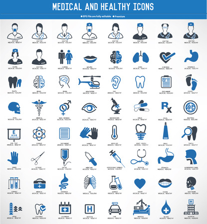 MedicalHealthy icon setblue versionclean vector Illustration