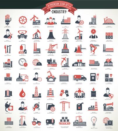 electricidad industrial: Industryconstruction e ingeniero icono setred vector versionclean