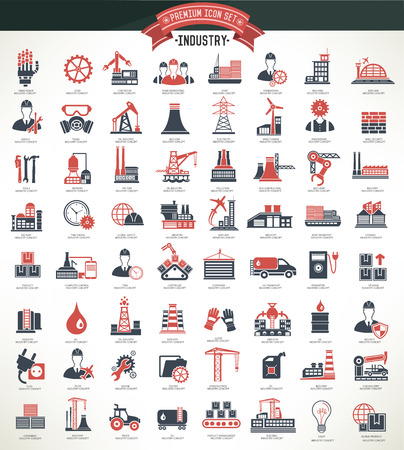 Industryconstruction and engineer icon setred versionclean vector