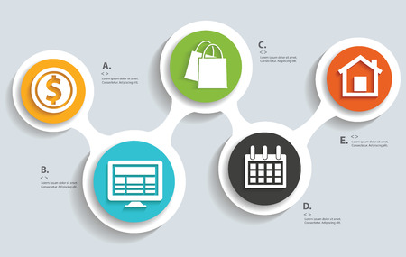 with sets of elements: Officebusiness on buttons info graphic designclean vector