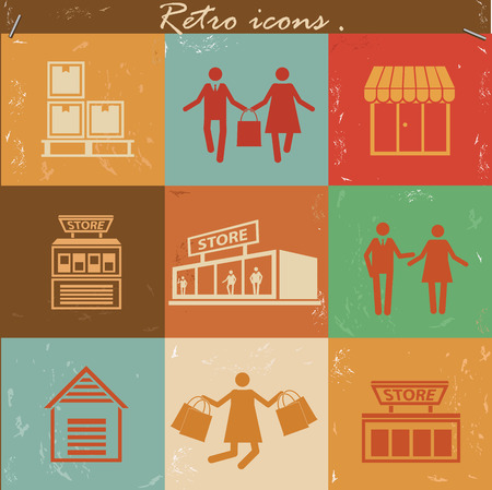 cash dispense: Shopping icon set on retro backgroundclean vector