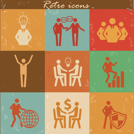 organized group: Human resource icon set on retro backgroundclean vector