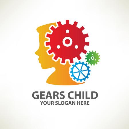 logo ordinateur: Enfant engrenage designlogo vecteur templateclean
