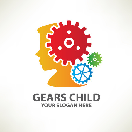 brain icon: Gear child designlogo templateclean vector