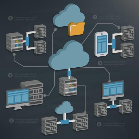 infraestructura: Servidor de base de datos y computingtechnology nube en la pizarra vector backgroundclean Vectores