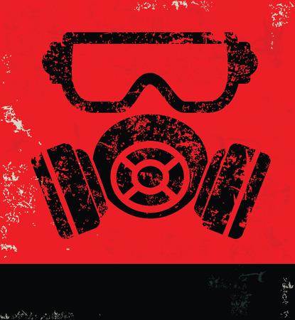 mascara de gas: Diseño Maskindustry en rojo vector backgroundgrunge