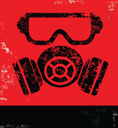 gas mask: Maskindustry design on red backgroundgrunge vector