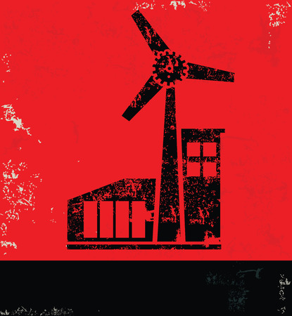 windfarm: Wind turbine design on red backgroundgrunge vector Illustration