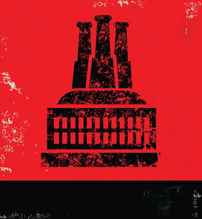 communists: Industry design on red backgroundgrunge vector