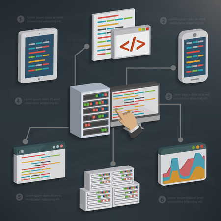 Database server and technology on blackboard backgroundclean vector