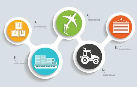 Logistique et de la production sur les boutons d'info graphique vecteur designclean