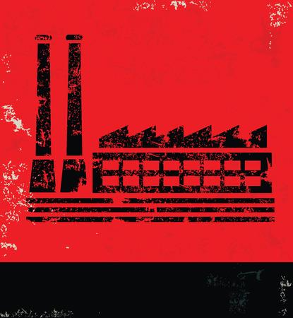 Industry design on red backgroundgrunge vector
