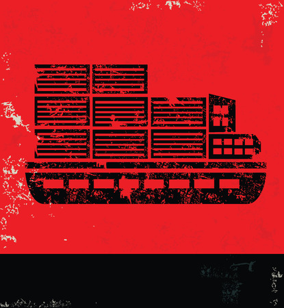 enormous: Boatshipping design on red backgroundgrunge vector