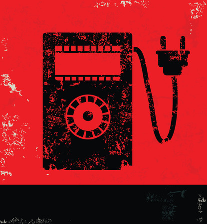 power meter: Power meter design on red backgroundgrunge vector