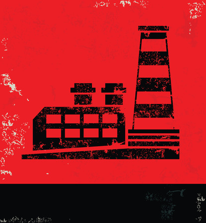 nuclear vector: Factory industry design on red backgroundgrunge vector