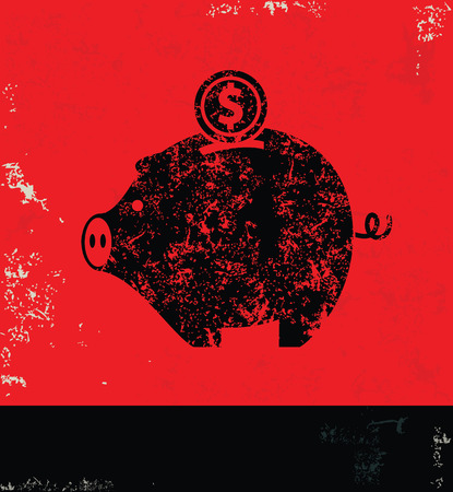 Piggy bank design on grunge background red version