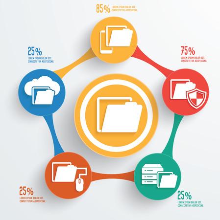File sharingtechnology info graphic design Vector