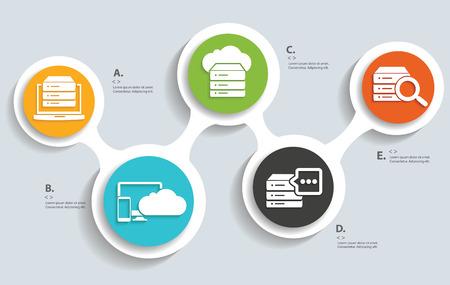 Database Cloud computing technology info graphic design Illustration