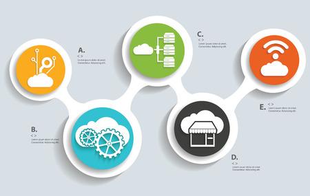 ftp servers: Cloud computing technology info graphic design Illustration