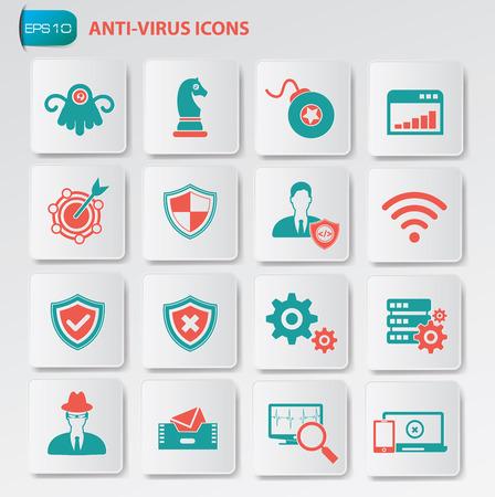virus: Anti virus icon set on clean buttons