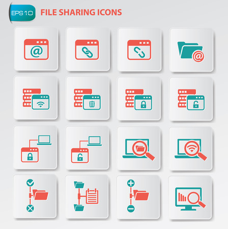 file sharing: File sharing icon set on clean buttons Illustration