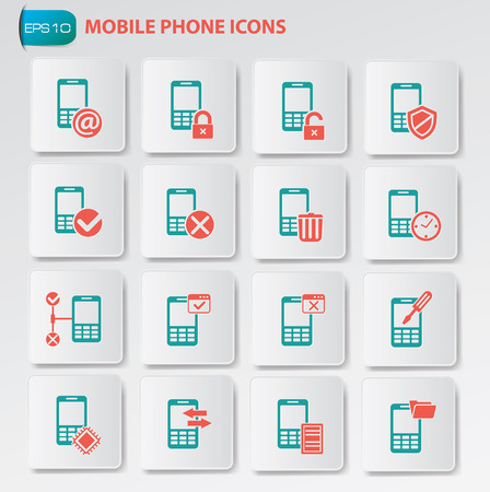 Mobile phone icon set on clean buttons Vector