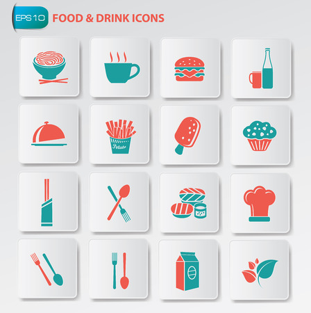 lo mein: Food and drink icon set on clean buttons