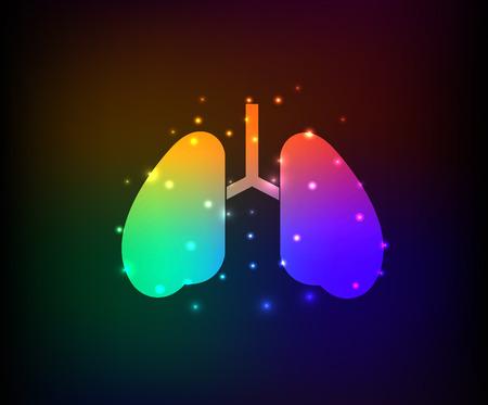 bronchial asthma: Lung design on dark background