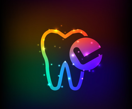 mouth pain: Tooth design on dark background rainbow concept Illustration