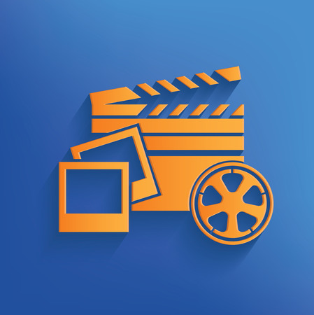 videocamera: Media on blue backgroundclean vector